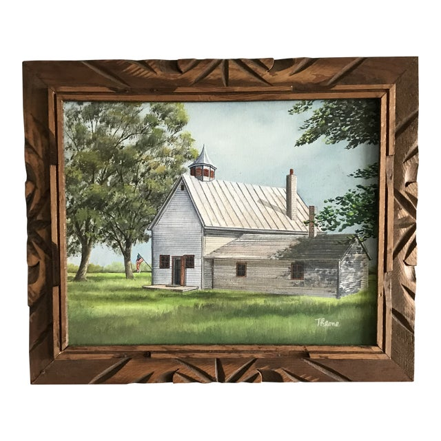 Vintage Mid-Century Schoolhouse Acrylic on Canvas Painting For Sale
