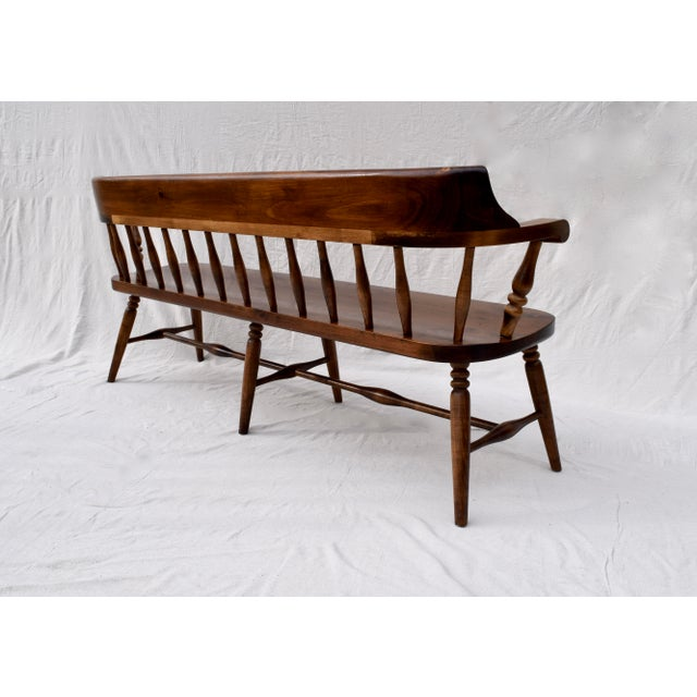 Farmhouse Pine Spindle Back Bench For Sale In Philadelphia - Image 6 of 10