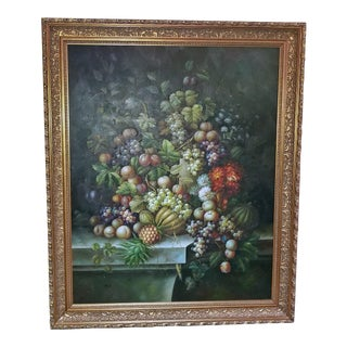 Fruit Still Life Oil Painting on Canvas by M. Picot For Sale