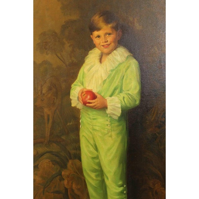 Portrait of Boy in Green For Sale - Image 4 of 7
