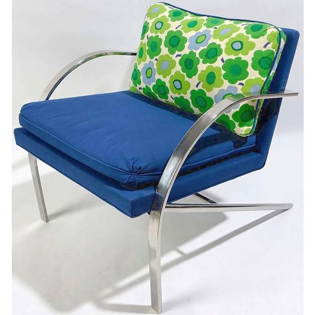 """Excellent pair of """"Arco"""" chairs in the style of Paul Tuttle. Upholstered in a vintage royal blue wool blend, with back..."""