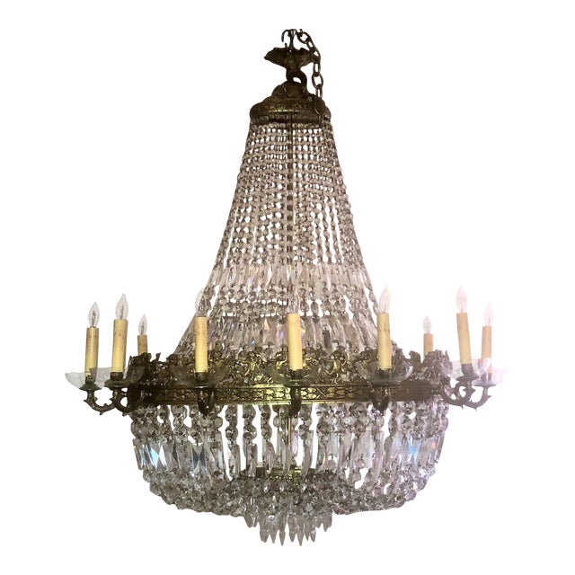 Antique French Bronze d'Ore and Crystal Chandelier, Circa 1880. For Sale