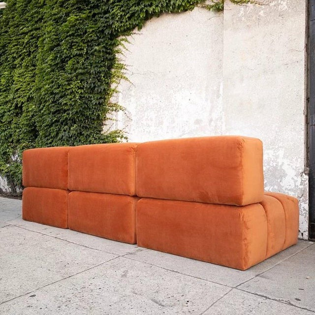 Modern Custom Orange Creamsicle 4-Part Sofa