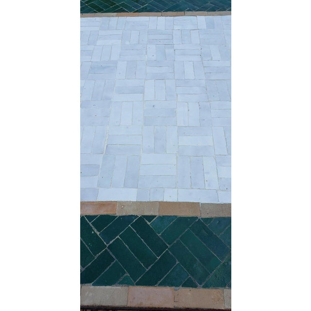 Moroccan White and Green Square Mosaic Dining Table For Sale - Image 4 of 7