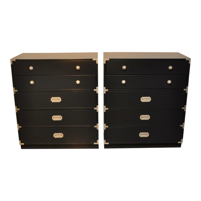 Pair of Lacquered Five-Drawer Campaign Chests by Bernhardt For Sale