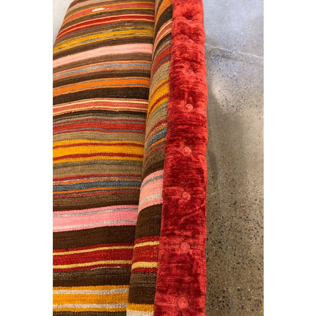 Wood Custom Made Sofa in Vintage Flat Woven Kilim For Sale - Image 7 of 11