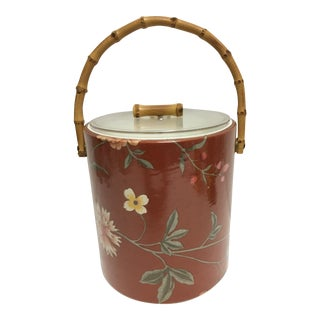 Vintage Bamboo Floral Ice Bucket