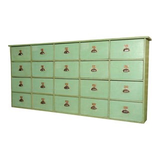 Painted Green 20-Drawer French Merchants Cabinet