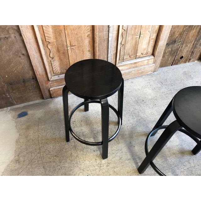Mid-Century Modern Aalto Manufactured for Artek Wooden Bar Stool For Sale - Image 12 of 12