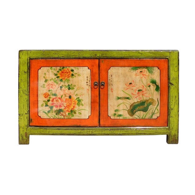 Lime Green & Orange Flower Side Table or Cabinet - Image 1 of 6
