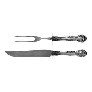 1930s Sterling Carving Set with Sterling Guard King Edward- a Pair For Sale