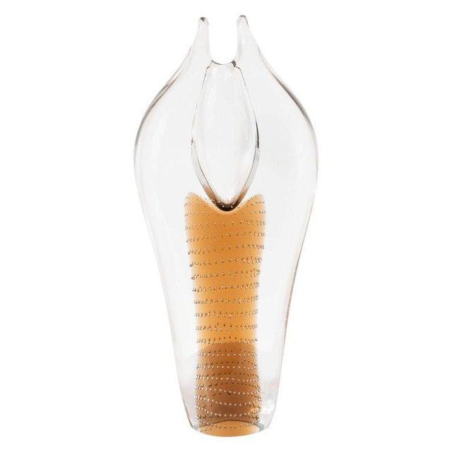 Mid-Century Modern Handblown Smoked Honey & Translucent Glass Vase by Beranek For Sale - Image 9 of 9