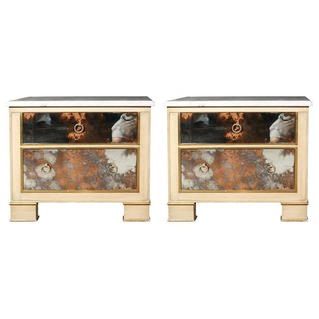 Mid-Century Marble Top Nightstands - A Pair For Sale