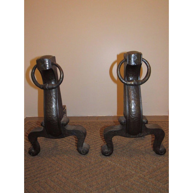 Up for offer here is a fine pair of antique circa 1910 bronze Arts & Crafts Mission style hammered surface finish andirons...