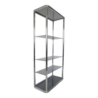 Chrome and Smoked Glass Etagere For Sale