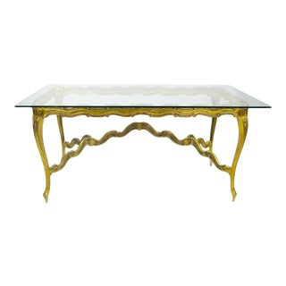 Gilt Cast Aluminum & Glass Louis XV Dining Table For Sale