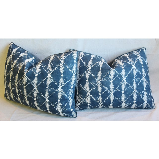 "Designer Chris Barrett Blue & White Feather/Down Pillows 23"" X 17"" - Pair For Sale - Image 9 of 13"