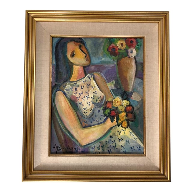 """Original Painting """"Girl With Flowers"""" Acrylic on Canvas by Ney Cardosa For Sale"""