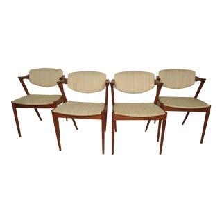 """Kai Kristiansen Model 42 """"Z"""" Teak Dining Chairs For Sale"""