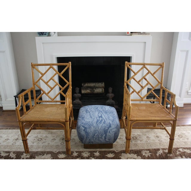 Brown Vintage Palm Beach Style Bamboo Rattan Cane Chippendale Armchairs - a Pair For Sale - Image 8 of 13