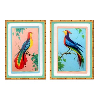 Custom Gallery Carved Wood Bamboo Gold of Tropical Birds & Botanical Art – a Pair For Sale