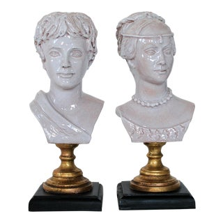 Male and Female Busts - a Pair For Sale