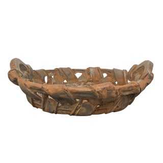Vintage Cast Iron Woven Basket For Sale