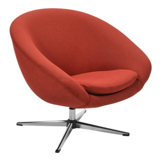 Overman Red Swivel Lounge Chair For Sale