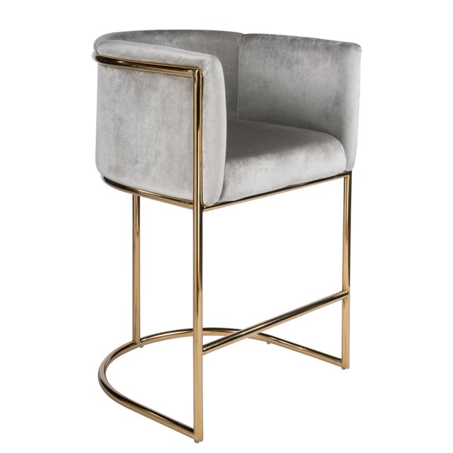 Mira Gold Counter Chair For Sale - Image 4 of 4