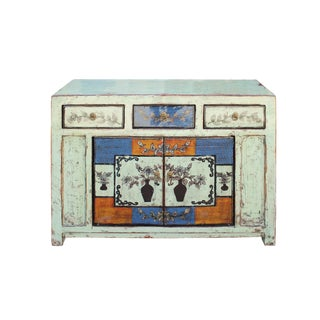 Chinese Distressed Light Pale Green Flower Graphic Table Cabinet
