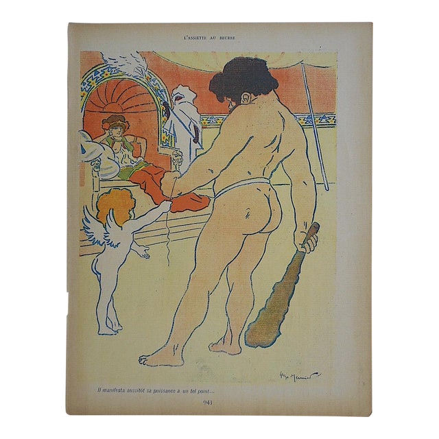 Antique French Lithograph of Cupid For Sale