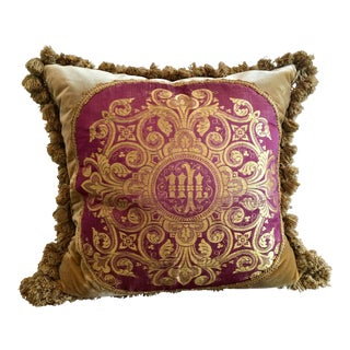 Velvet Throw Pillow With Round Vestment Panel and Silk Back For Sale
