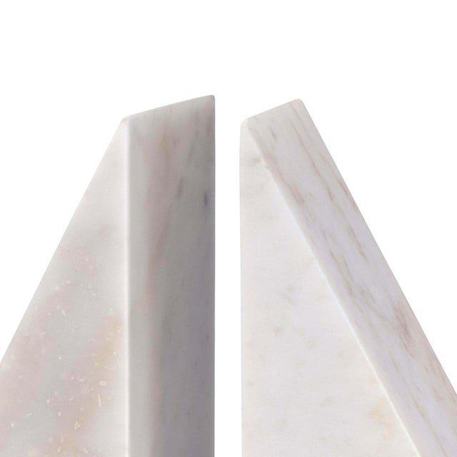 Traditional Othello Marble Bookends in White - A Pair For Sale - Image 3 of 5