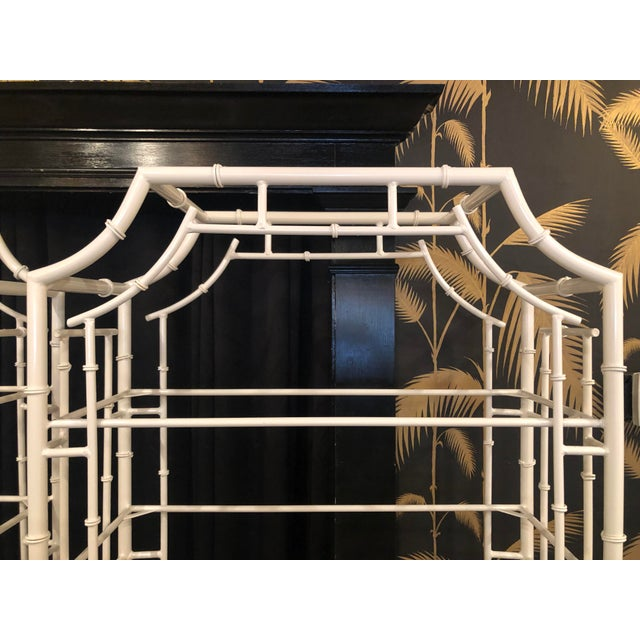 1970s Vintage Chinese Chippendale White Powder-Coated Faux Bamboo Pagoda Etageres - A Pair For Sale - Image 5 of 13
