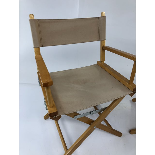 Vintage Wood & Canvas Folding Director Chairs - a Pair For Sale - Image 4 of 12