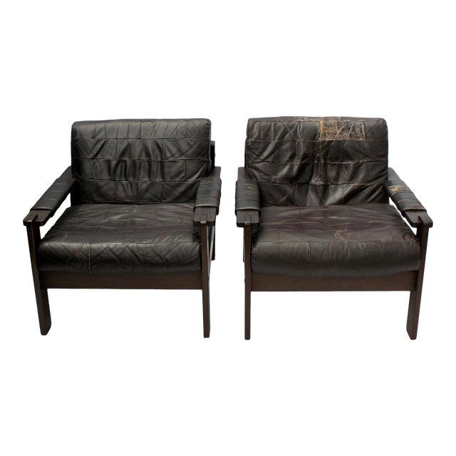 1960s Vintage Moveis Corazza Brazil Distressed Leather and Jatoba Wood Club Armchairs - a Pair For Sale