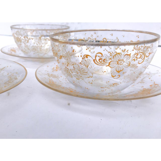 19th Century Lobmeyr Hand-Painted Enameled Fruit Bowls and Under Plates - Set of 4 For Sale In New York - Image 6 of 12