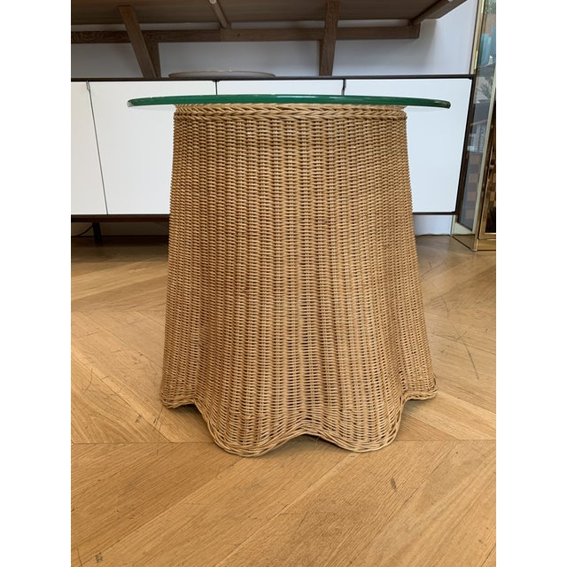 1960s 1960s Draped Wicker Side Table For Sale - Image 5 of 5