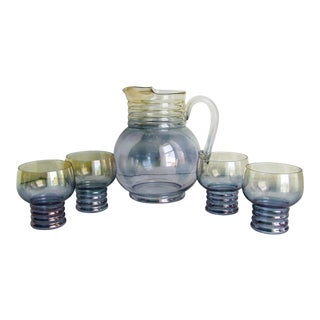 Vintage Dunbar Blue and Yellow Iridescent Pitcher and Ribbed Glasses - 5 Piece Set For Sale