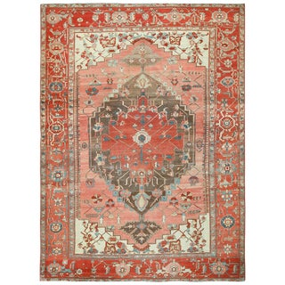 Antique Oriental Persian Serapi Room Size Rug - 9′5″ × 13′ For Sale