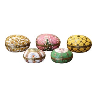 19th Century French Painted Faberge Porcelain Egg Trinket Boxes, Set of 5 For Sale