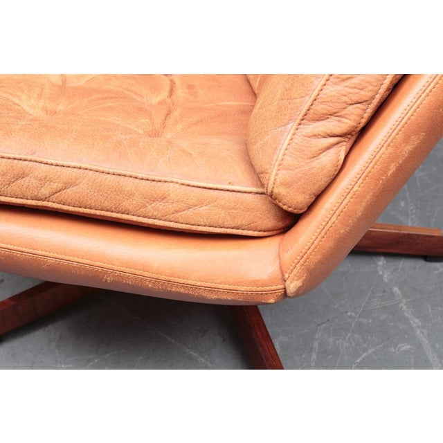 Tan Danish Leather Swivel Chairs & Ottomans - A Pair For Sale - Image 8 of 11