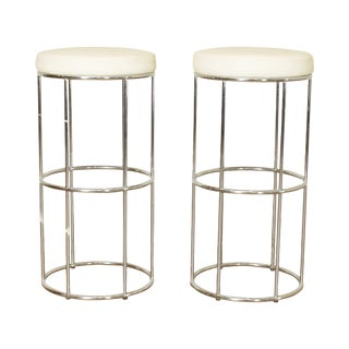 Mid Century Modern Pair Chrome Round Seat Barstools For Sale