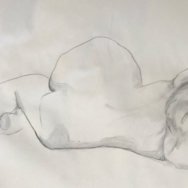 Figurative Reclining Nude Drawing For Sale - Image 3 of 3