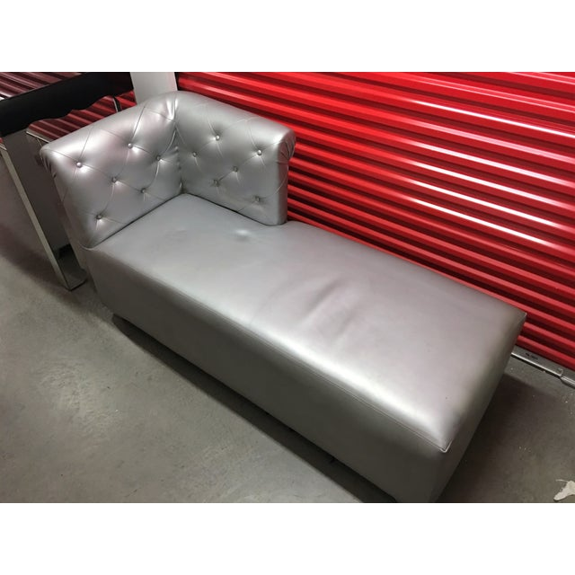 Silver Tufted Vinyl Chaise Lounge - Image 4 of 7