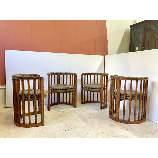 Vintage Set of 4 Bamboo Barrel Back Game Chairs For Sale - Image 9 of 13