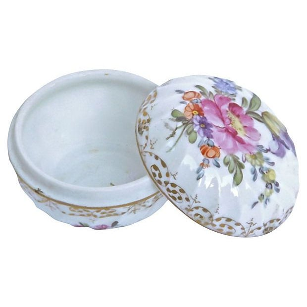 Antique; 1900-1910, French, porcelain, floral, lidded, Limoges box. Hand-painted floral designs and gilt accents. Swirled...