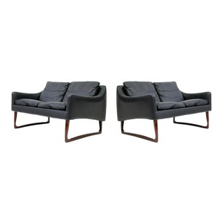 Pair of Rosewood and Leather Settees by Hans Olsen For Sale