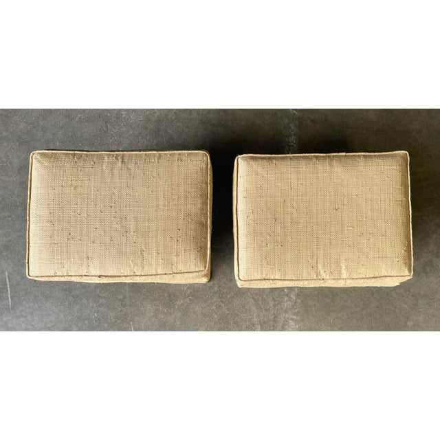 Textile Custom Vintage Grass Cloth X Stools a Pair For Sale - Image 7 of 8