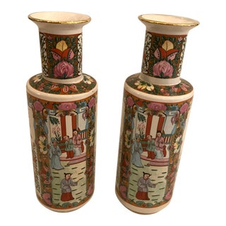 Pair of Rose Medallion Vases For Sale